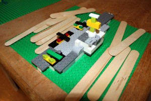 Archi's Aircraft Carrier - he used craft sticks as sea