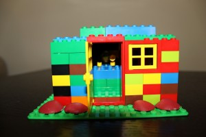 Sophie's House of Legos - she used shells as roses