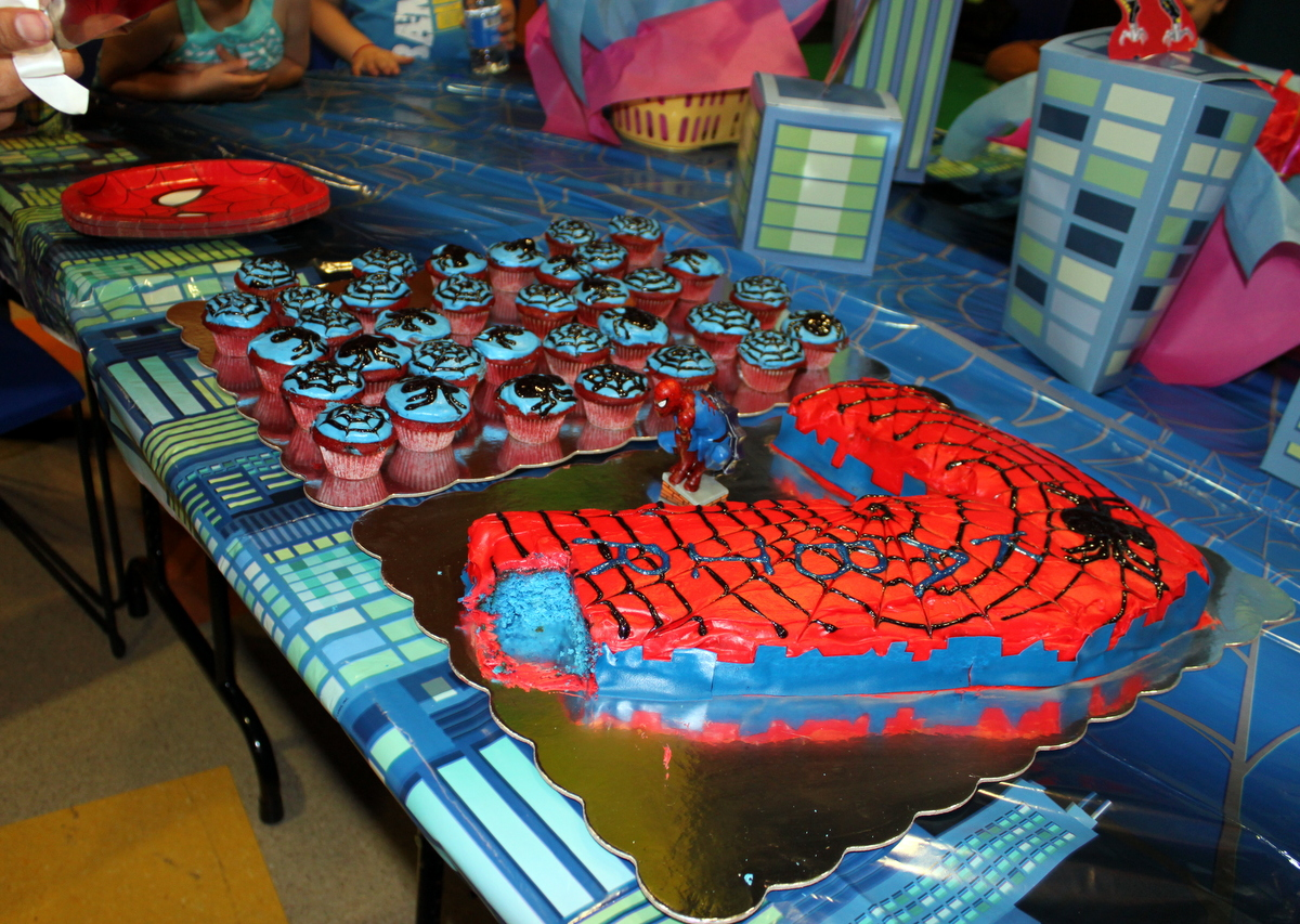 SpiderMan Cupcakes And Number 7 Spiderman Cake For Kabirs 7th Birthday