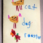 Cat, dog, rooster