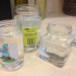 Fill glass jars with water