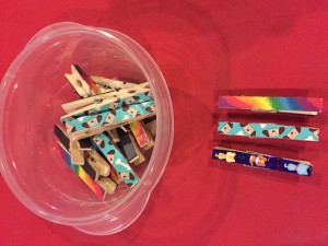 Fridge Magnets - clothespins decorated with duct tape and stickers