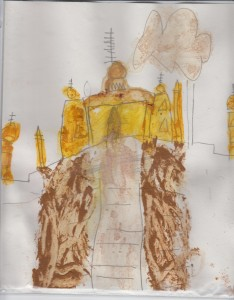 Kabir drew Taj Mahal and then painted it with paste of Indian spices